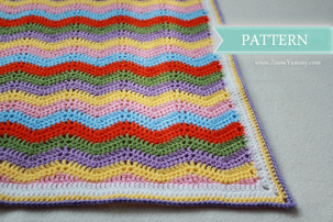 colorful crochet ripple blanket