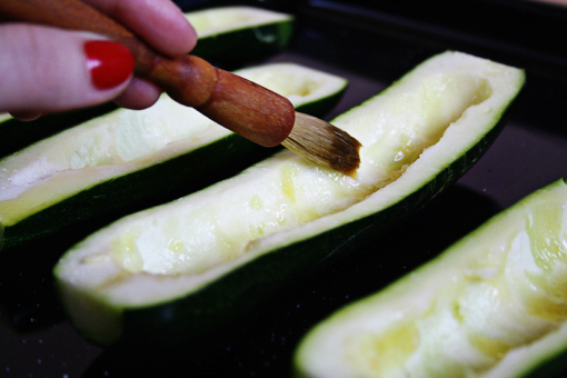 Stuffed Zucchini with Vegetable Rice and Cheese recipe with step-by-step images