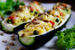 stuffed zucchini with vegetable rice and cheese recipe with step by step pictures, ingredients, pictures, recipe, images