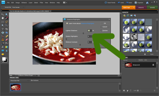 how to eliminate shadows with Photoshop picture tutorial