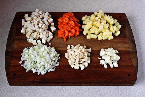 bean soup recipe with step by step pictures, cleaned, sliced, chopped, diced vegetables
