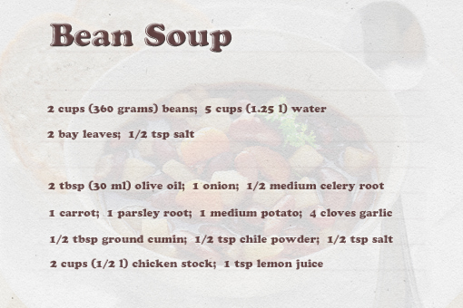 bean soup recipe with step by step pictures, ingredients