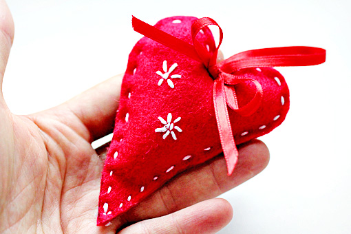 handmade felt Christmas ornaments, heart, tree