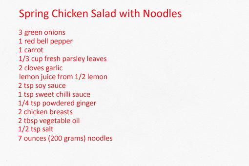 spring chicken salad with noodles recipe with step by step pictures, ingredients