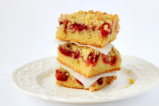 rhubarb and cherry crumb bars step by step picture recipe