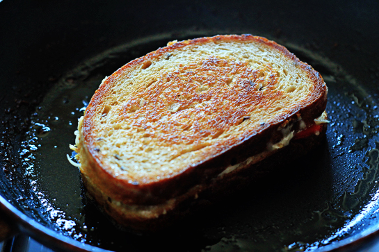 crispy chili pepper grilled cheese sandwich recipe with step by step pictures, in a medium pan, melt 1 tbsp butter