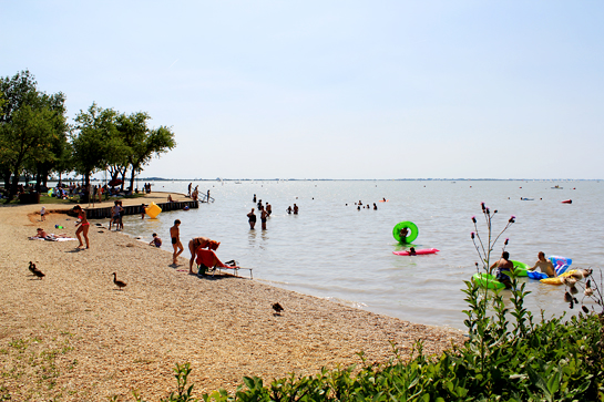 lake, boats, summer, people bathing, Austria, holiday, vacation, lake, Neusield See, Lake Neusiedl