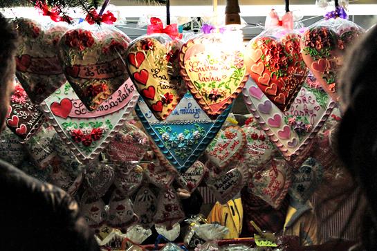 Christmas market gingerbread hearts