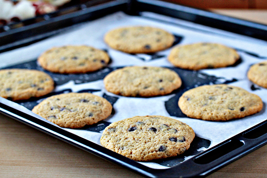 chocolate chip cookie recipe with step by step pictures, baked