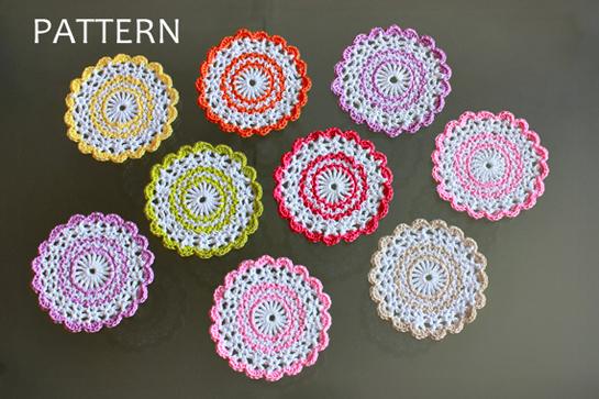 New Pattern Sweet Crochet Coasters Pattern Zoom Yummy