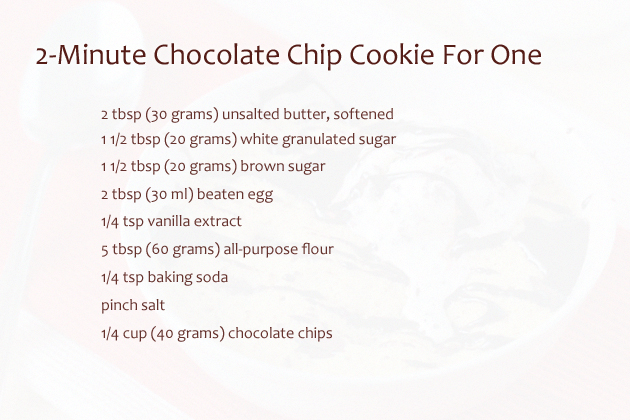 Recipe for one cookie in microwave
