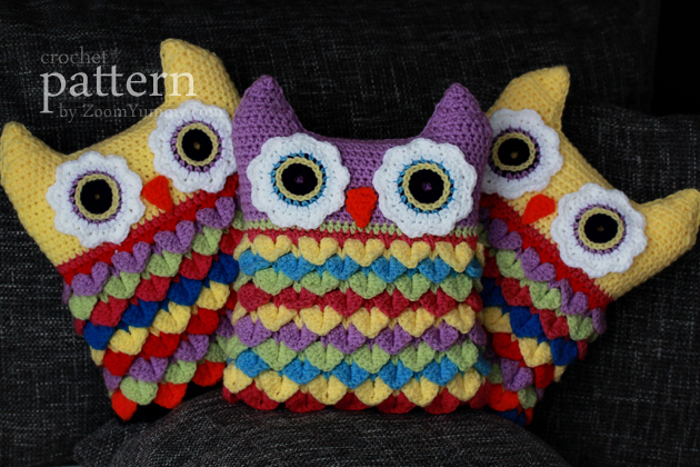 crochet pattern crochet owl cushion step-by-step picture tutorial