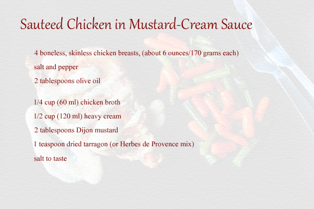 sauteed chicken in mustard cream sauce recipe ingredients