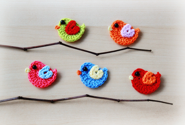 colorful crochet birds