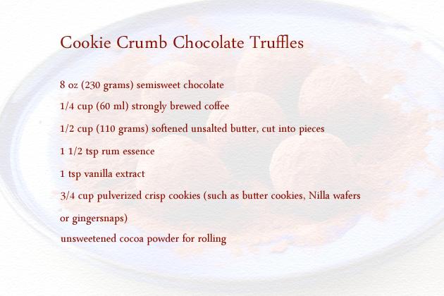 cookie crumb chocolate truffles ingredients