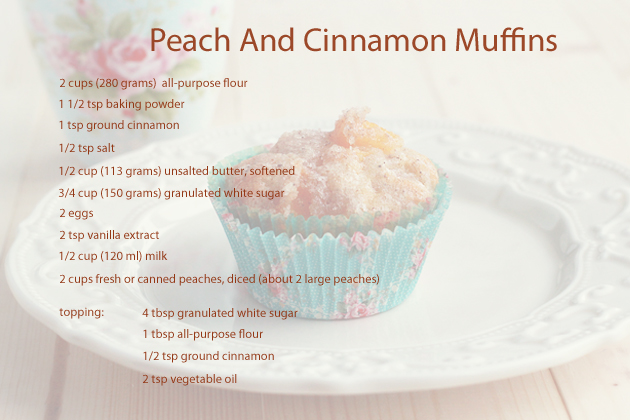 peach and cinnamom muffins ingredients
