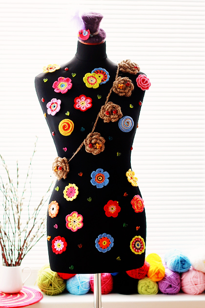 dummy and crochet  flowers
