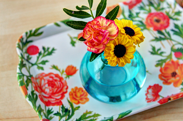 flower in vase on tray
