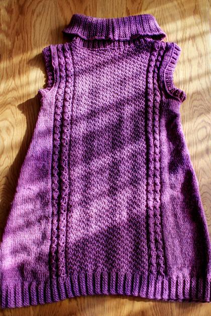 purple long knitted vest back side