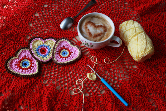 crochet hearts and coffee