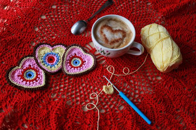 crochet hearts and coffee