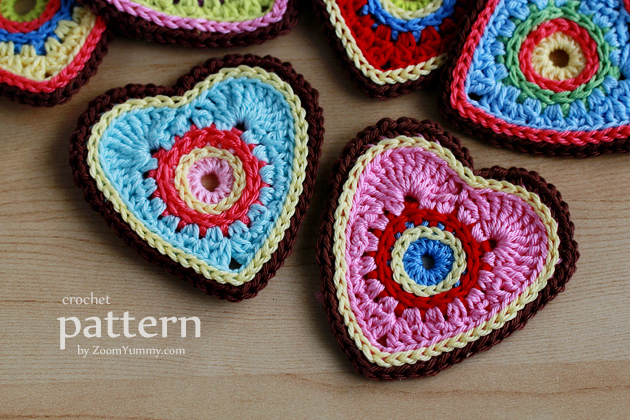 New Pattern Sweet Crochet Heart Ornamentsappliques Crochet