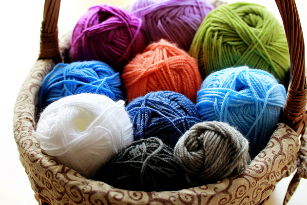 colorful yarn in basket