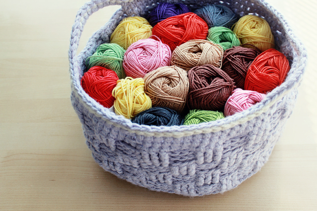 crochet basket full of yarn