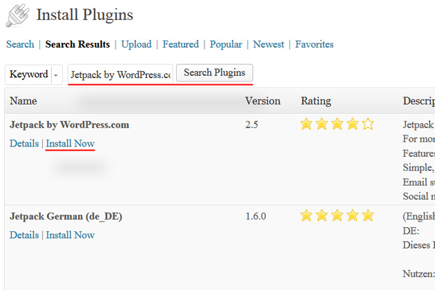 wordpress dashboard install plugins jetpack