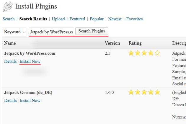 wordpress dashboard install plugins jetpack