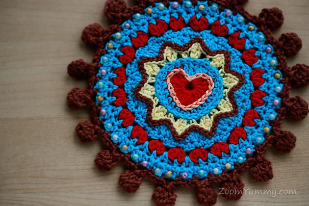 bohemian flaming heart coaster