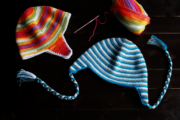 crochet earflap beanies with braids
