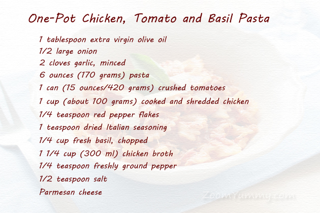 one-pot chicken and tomato pasta