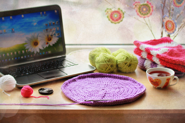 crochet project on crafting table