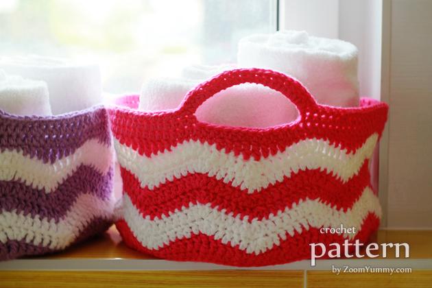 crochet ripple basket pattern