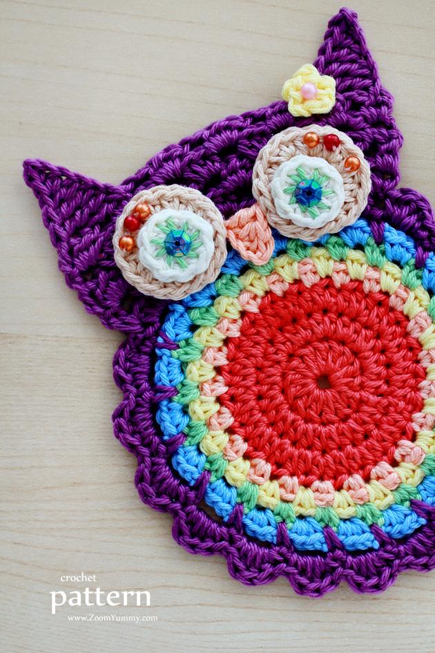 New Pattern Crochet Owl Coasters Appliques Crochet Zoom
