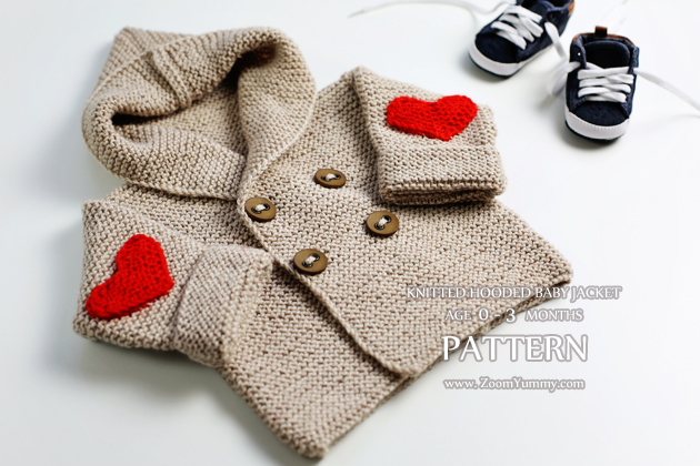 New Pattern Knitted Hooded Baby Jacket Age 0 3 Months Knitting