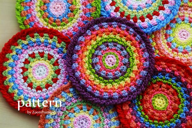 crochet mosaic coasters pattern