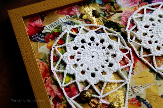crochet angel wings and decoupage