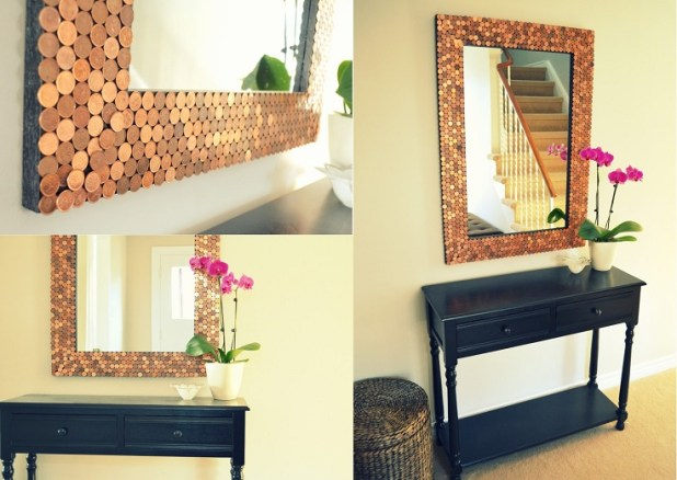 the mirror is beautiful i really like the mosaic quality of it and the different shades of copper one of my favorite metals great idea to hang on the - Diy Mirror Frame Ideas