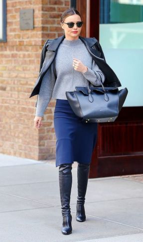 Biker Jacket with A Turtleneck And A Pencil Skirt