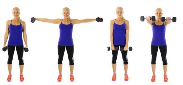 Dumbbell Front and Lateral Raise To Get Rid Of Bra Bulge