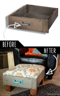 Foot Rest Ottoman From Old Drawers