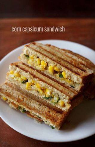 Grilled Corn & Capsicum Sandwich Weight Loss Breakfast