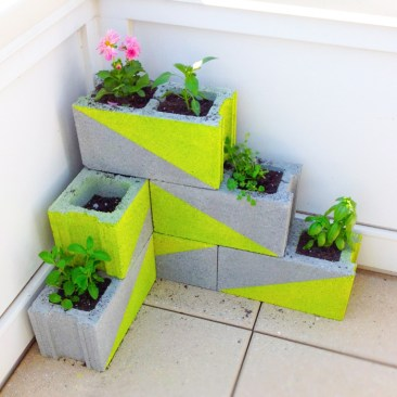 Neon Concrete Block Planter