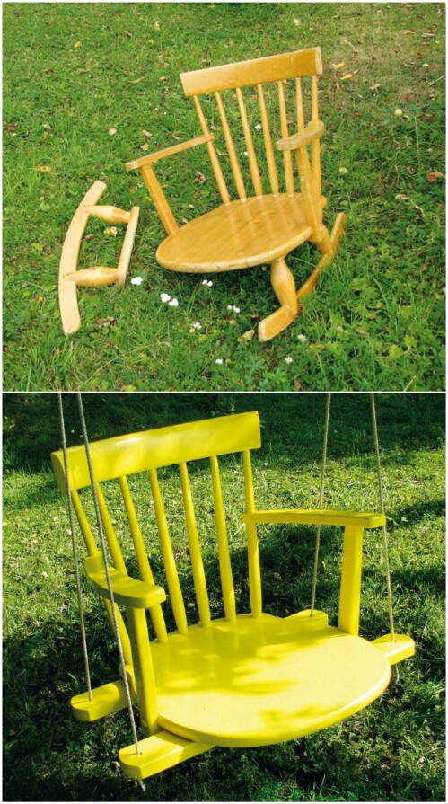 Old Wooden Dining Chair With Broken Legs Turned Into A Wonderful Swing