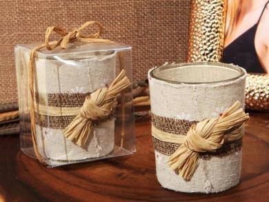 Rustic Unique Burlap Candle Holder Wedding Centerpiece