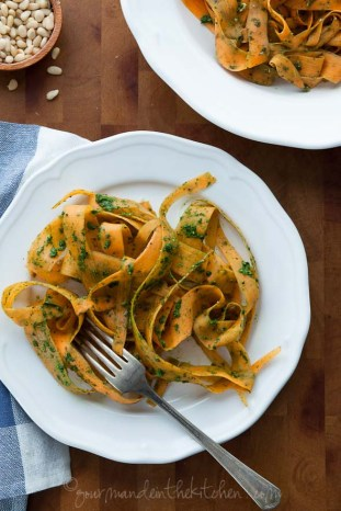 Sweet Potato Noodles With Kale Pesto