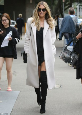 Thigh-High Boots with A Mini Dress And A Trench