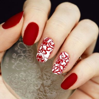 Velvet Red Nails Design